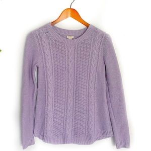 J. Crew Popcorn Cable Knit Sweater in Lavender